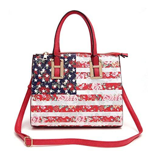 (b22-2)american Flag Satchel Bag-dh011 (red)