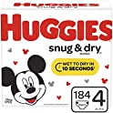 184 Count Huggies Snug & Dry Size 4 Baby Diapers (fits 22-37 lb.)