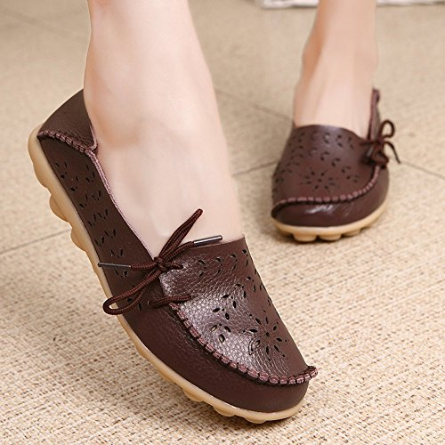 Hollow Leather Maybest Coffee Up Pumps Loafer Comfort Out Lace Women Work Flats gXqqwO5
