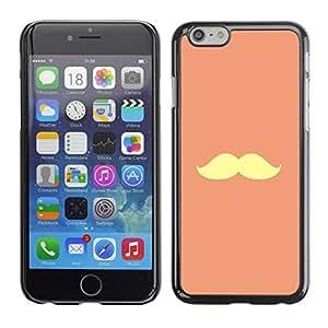 FECELL CITY // Duro Aluminio Pegatina PC Caso decorativo Funda Carcasa de Protección para Apple Iphone 6 // Handlebar Moustache Peach Yellow Vignette
