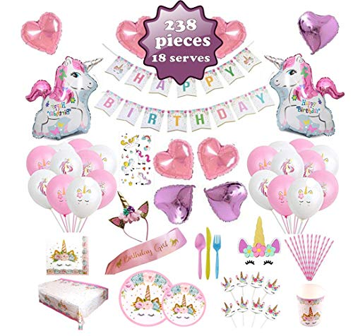 Unicorn Party Supplies set - 238 PCS - 18 Serves | Unicorn Decoration | Tableware | Favors | Balloons | Free Bonus ()