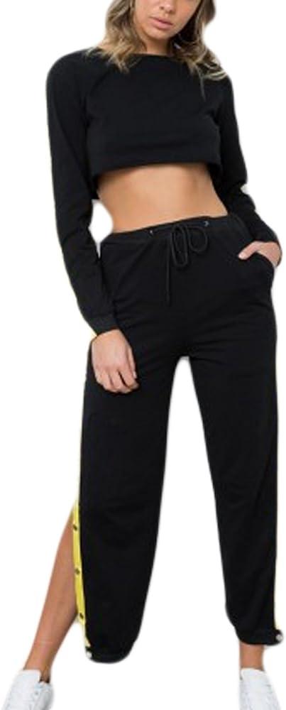 Las Mujeres 2 Piezas Crop Sudaderas+Largos Pantalones Negro Con ...