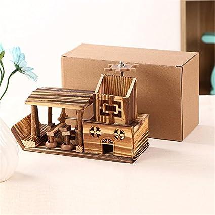 Retro Madera Decoración del hogar figuras de caja de música (multifunción escritorio Decor caja de