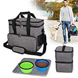 Teamoy Double Layer Dog Travel Bag with 2 Silicone Collapsible Bowls, 2 Food Carriers, 1 Water-Resistant Placemat, Pet Supplies Weekend Tote Organizer (Large, Gray)