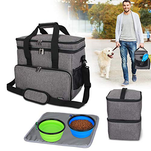 (Teamoy Double Layer Dog Travel Bag with 2 Silicone Collapsible Bowls, 2 Food Carriers, 1 Water-Resistant Placemat, Pet Supplies Weekend Tote Organizer (Large, Gray) )