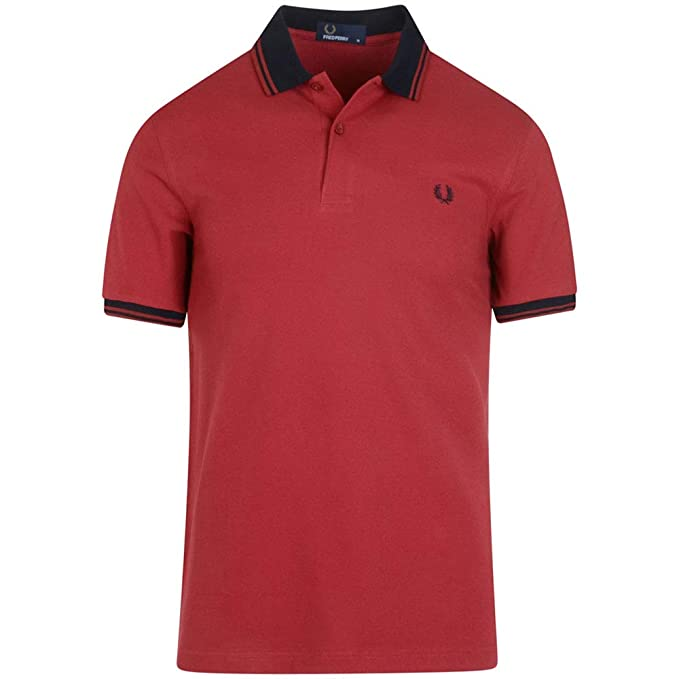 Fred Perry Polo Uomo Contrast Rib Pique M4567 Bordeaux: Amazon.es ...