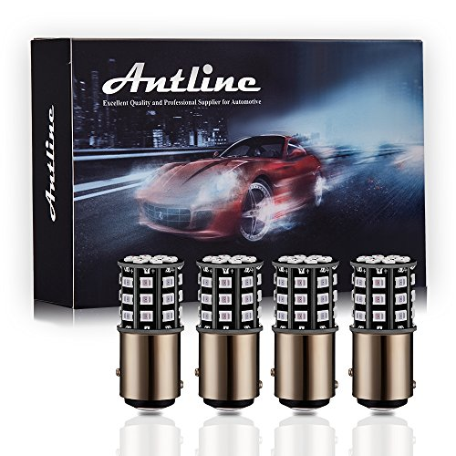 Antline 1157 2057 2357 7528 BAY15D LED Bulbs Brilliant Red, 12-24V Super Bright 800 Lumens Replacement for Tail Brake Lights, Turn Signal Lights, Parking Light (Pack of 4)