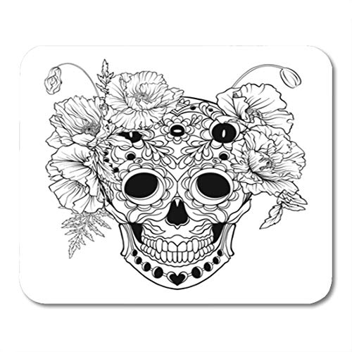 Semtomn Gaming Mouse Pad Coloring Sugar Skull Pattern and Wreath of Red Poppies 9.5