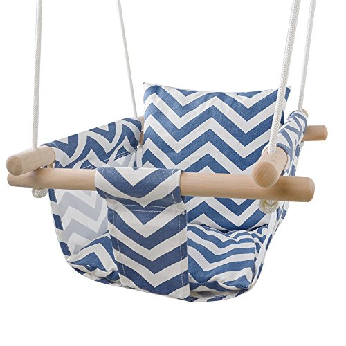 Secure Canvas Hanging Swing Seat Indoor Outdoor Hammock Toy for Toddler (Traditional Rocking Wooden Horses)