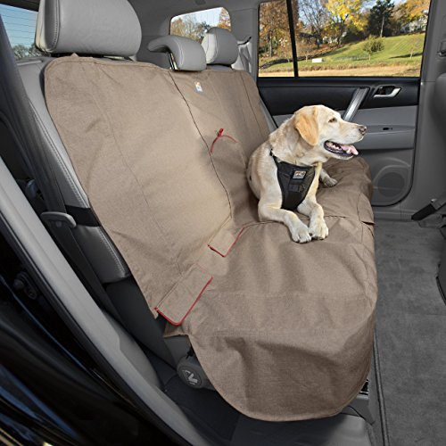 Kurgo Dog Seat Cover | Car Bench Seat Covers for Pets | Dog Back Seat Cover Protector | Water Resistant for Dogs | Contains Seat Anchors | Scratch Proof | Cars | Heather Bench Seat Cover Style | 53 Inches | Heather Nutmeg Khaki ()