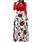 Fanyunhan Women Fashion Long Sleeve Floral Boho Dress Print Long Maxi Dress Ladies Casual Dress Red