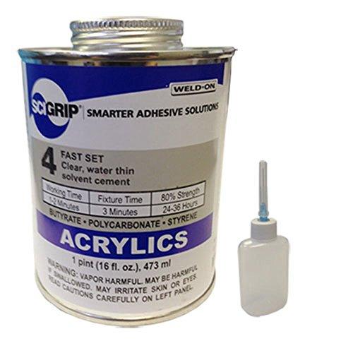 Weld-On 4 Acrylic Adhesive - Pint and Weld-On Applicator Bottle with Needle