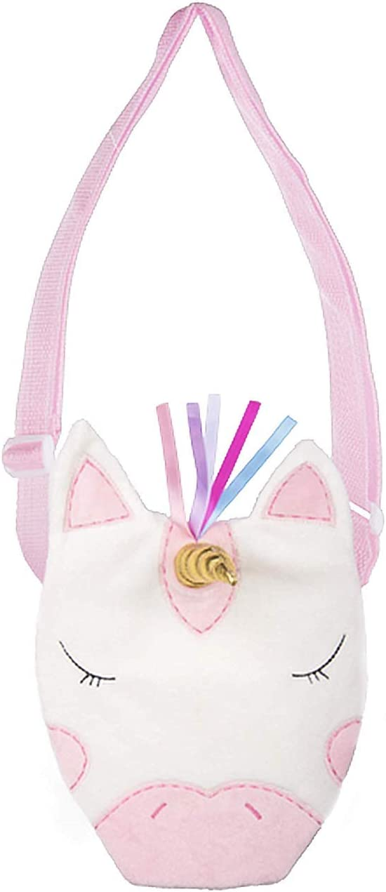 Ganz H14521 Ribbon Unicorn Coin Purse with Strap , Pink and White