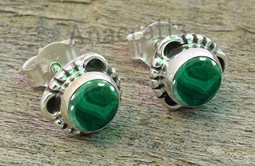 simple stud earrings Malachite sterling silver stud earrings Malachite post earrings green earrings