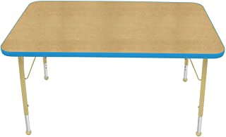 """product image for Creative Colors 30"""" x 48"""" Rectangular Activity Table with Maple Top, Bright Blue Edge, Ball Glide - Standard Leg Height: 21""""-30"""""""