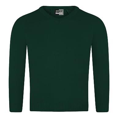 53dd063fd0e785 Ozmoint Girls Boys Unisex School Uniform Plain Knitted V-Neck ...