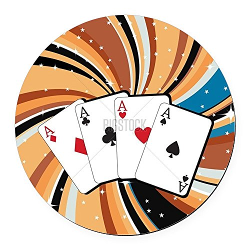 CafePress - Gambling Cards Round Car Magnet - Round Car Magnet, Magnetic Bumper Sticker