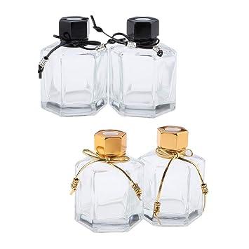 9166291582ba Amazon.com: Flameer 4Pcs 100ml Clear Glass Diffuser Bottles ...