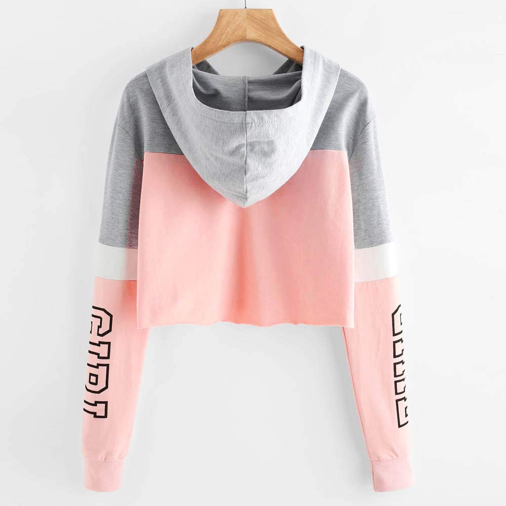 Amazon.com: Drfoytg Women Fashion Long Sleeve Hoodie Girl Print Crop Top Teens Autumn: Clothing
