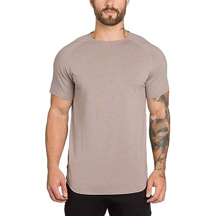Camisetas Hombre Mangas Corta Al Aire Libre POLP Gimnasios para Hombres Culturismo Fitness Músculo Camiseta de