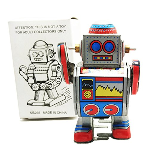 Vintage Style Silver Robot MS235 Retro Clockwork Wind Up Tin Toy