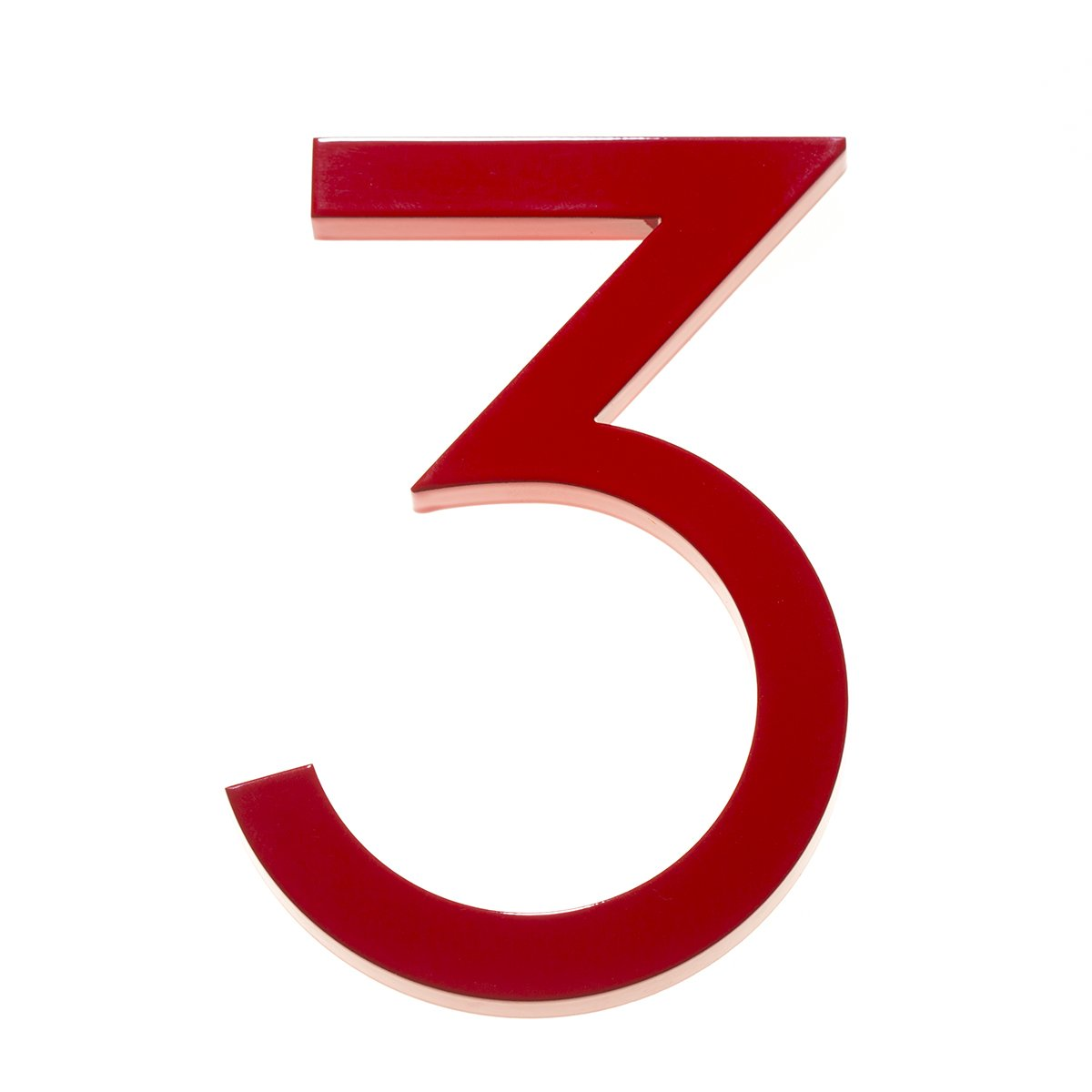 Amazon com modern house number red color aluminum modern font number three3 8 inch address plaques garden outdoor