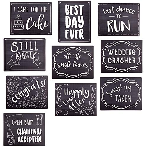 Wedding Photo Booth Sign Props - Set of 5 - Double Sided, Chalkboard Style Hard Plastic Prop Signs -
