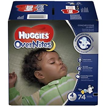 HUGGIES OverNites Diapers, Size 4 for over 22-37 lbs., Pack of 74 Overnight Baby Diapers