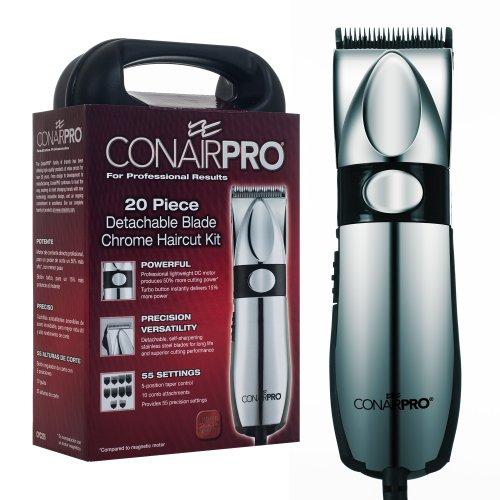 Conair 72-PC225 Pro 20 Piece Detachable Blade Chrome Haircut Kit Chrome Pro Haircut Kit