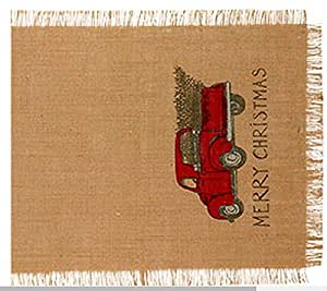 36 in. Red Truck Christmas Holiday Decor Burlap Runner (13-in x 36-in)