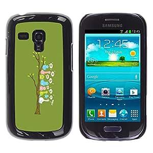 Samsung Galaxy S3 MINI 8190 (NOT S3) - Metal de aluminio y de plástico duro Caja del teléfono - Negro - Cute Funny Bird Tree