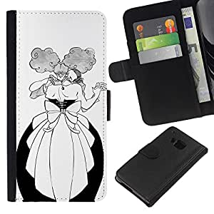 KingStore / Leather Etui en cuir / HTC One M9 / Danza Hombre Mujer Bola Alcohol divertido