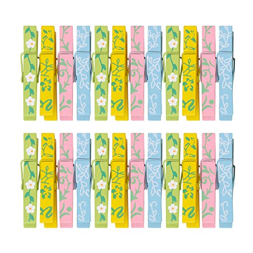 TtoyouU Set of 24pcs Wooden Colored Mini Clothespins Small Photo Peg Pin Clips(2