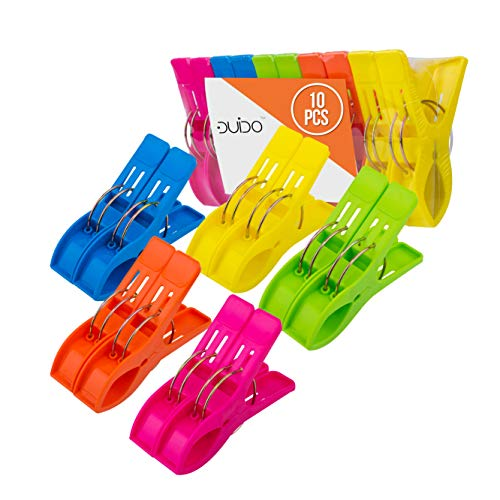 Beach Chair Towel Clips Clamps - 10 PACK Pool Towel Holder and Large Plastic Clamp - ASSORTED COLORS Jumbo Clothespins and Towel Pegs - Heavy Duty Clips for Laundry, Beach, Pool Cover, Cruise Ship Acc