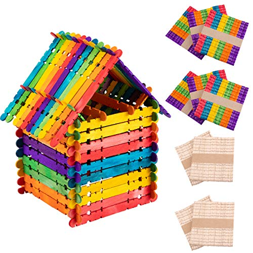 (Alphatool 500 Pcs Colorful Sawtooth Wood Craft Sticks- Assorted Color and Natural Wooden Popsicle Sticks Jumbo Ice Pop Treat Sticks Bulk for DIY Craft Project, Classroom Creative Designs (4.5)