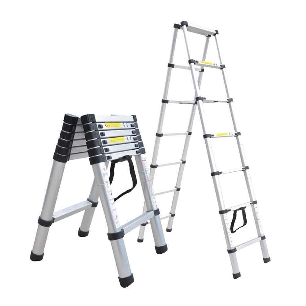 12.5 FT Aluminum Telescopic Ladder Telescoping A-Type Frame Extension Multi Purpose