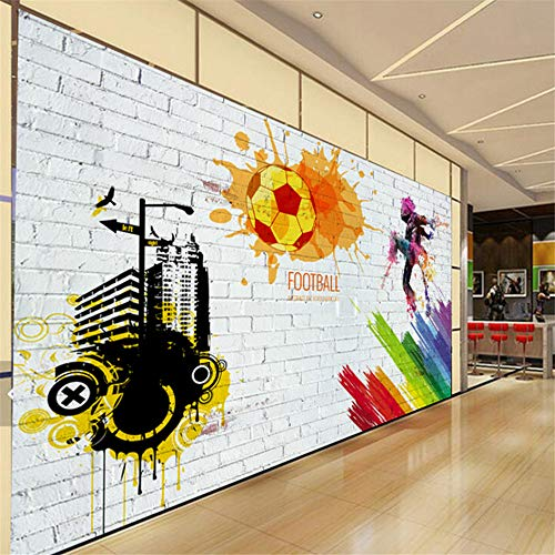 Pbldb Custom Wall Mural Brick Wall City Graffiti Football Basketball Large Murals Bar Restaurant Living Room Decor Non-Woven Wallpaper-400X280Cm by Pbldb (Image #3)