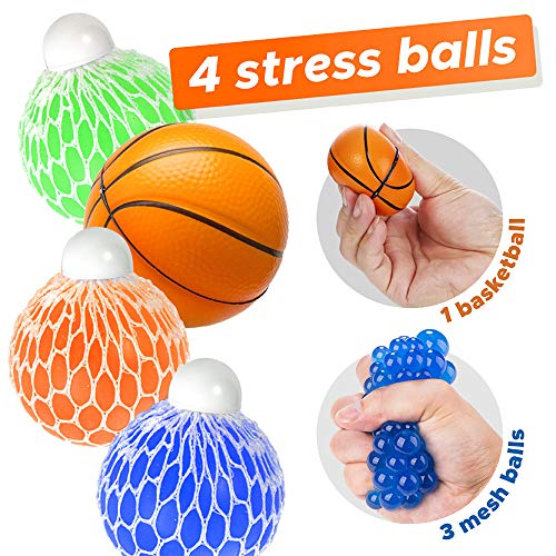 OleOletOy Mesh Stress Squeeze Ball for Adults and Kids, Sensory Fidget Toy to Relieve Autism and Anxiety, 3 Set Fun Grape Slime Ball with 1 Mini Foam Basketball ()