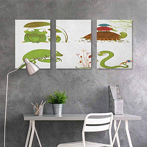 HOMEDD Canvas Print Artwork,Reptile Reptile Family Colorful Baby Collection Snake Frog Ninja Turtles Love Mother,Oil Canvas Painting Wall Art 3 Panels,24x47inchx3pcs Green Brown Red]()