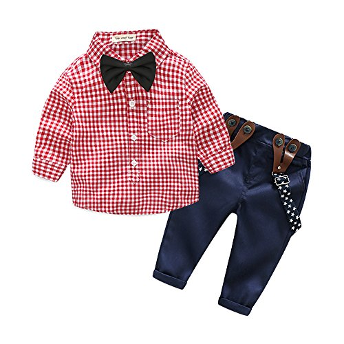 Top and Top 2 Pieces Baby Boys Long Sleeve Plaid Shirt Overalls Set With Bow (95/18-24 Months, Red)