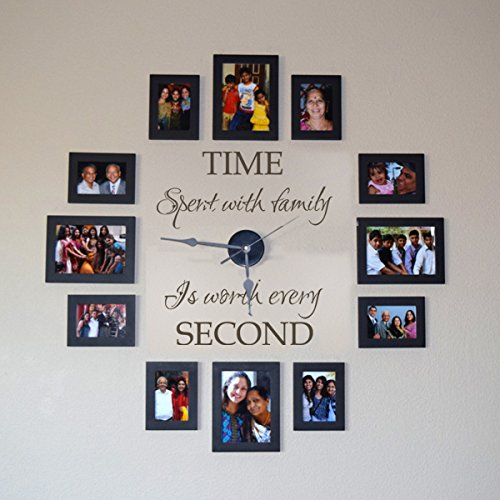 - Family Clock Wall Decal Living Room Vinyl Decor Vinyl Clock Decal Murals Family Wall Quotes Time Spend With Family Saying (46x39