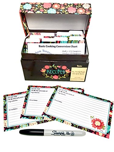 - 91 Piece Recipe Box and Card Bundle Set - Happy Day Floral.  The Perfect Recipe Card Holder.