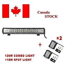 Topcarlight 126W CREE LED Lights Bar Flood Spot Combo Beam Off Road Truck 4wd SUV ATV with 2 pieces 18W Spot Work Light