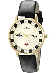 kate spade new york Womens Metro Quartz Stainless Steel and Leather Casual Watch, Color:Black (Model: KSW1052)