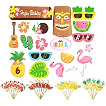 42Pcs Luau Hawaii Cupcake Toppers for Hawaiian Luau Summer Flamingo Birthday Holiday Tropical Tiki Beach Parties Cake Food Decoration Supplies
