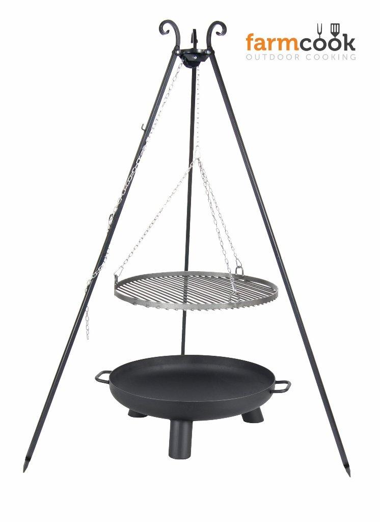 Dreibein Grill VIKING Höhe 180cm + Grillrost aus Rohstahl Durchmesser 70cm + Feuerschale Pan37 Durchmesser 80cm
