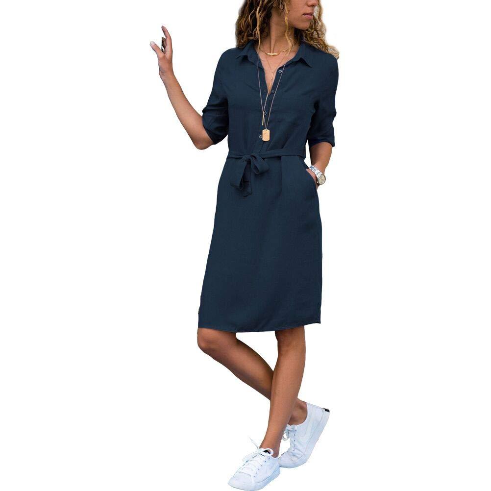 bluee LingRenDu Winter Shirt Dress Button Knee Sleeves Dress with Belt Pocket