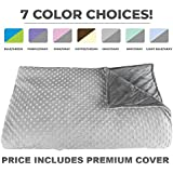 Premium Weighted Blanket, Perfect Size 60 X 80 and Weight (15lb) for Adults and Children. Deluxe CALMFORTER(tm) Blanket. Price Includes Cover!