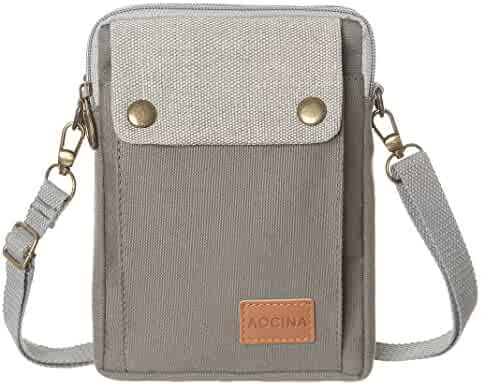 d5b6832b2ba5 AOCINA Cell Phone Purse Wallet Canvas Big Pocket Women Small Crossbody  Purse Bags