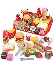 GILOBABY Keukenspeelgoed en etensspeelset voor kinderen, speelgoed voor rollenspel, pedagogisch speelgoed voor kinderen/peuters, cadeau voor jongens en meisjes